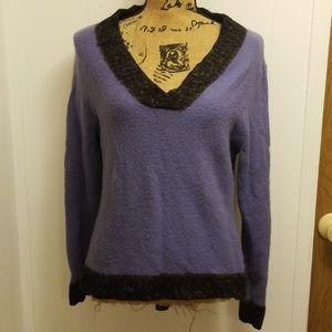 Vintage 1990s Purple and Black V Neck Sweater